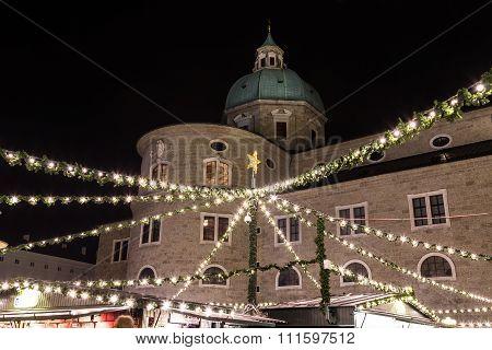 Salzburg Christmas Market In The Residenzplatz At Night