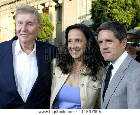HOLLYWOOD, CALIFORNIA. June 27 2005. Sumner Redstone, Paula Redtone and Brad Grey attend at the