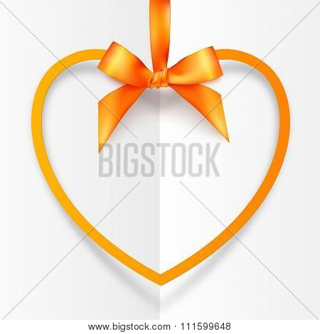 Orange hanging heart frame on silky ribbon with bow, greeting card template