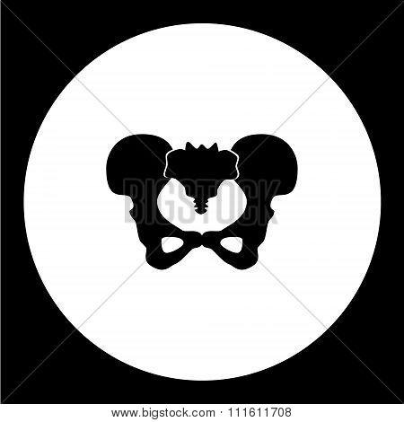 Isolated Human Pelvic Bones Black Icon Eps10