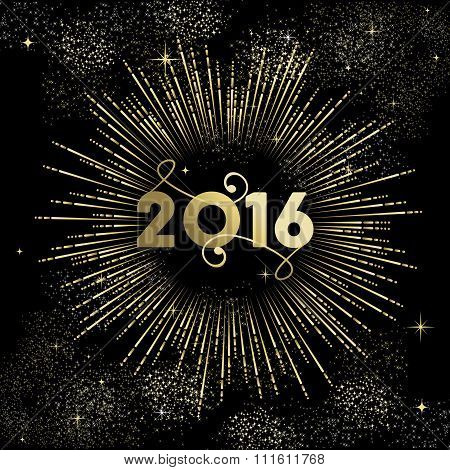 New Year 2016 Gold Firework Greeting Card