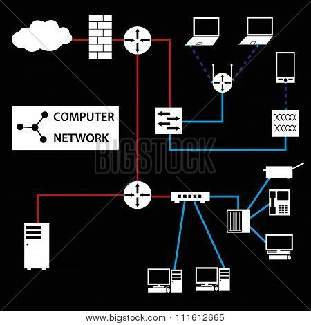 Computer Network Connections White Icons And Topology Eps10