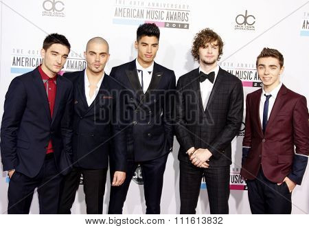 Tom Parker, Max George, Siva Kaneswaran, Jay McGuiness and Nathan Sykes of The Wanted at the 40th American Music Awards held at the Nokia Theatre L.A. Live in Los Angeles, USA on November 18, 2012.