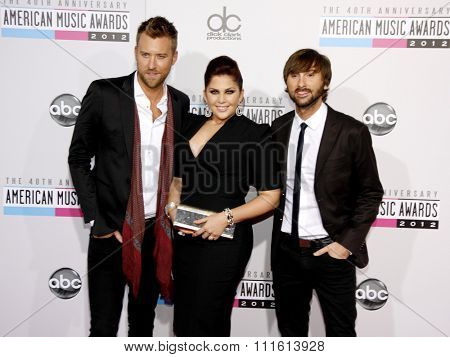 Lady Antebellum at the 40th American Music Awards held at the Nokia Theatre L.A. Live in Los Angeles, USA on November 18, 2012.