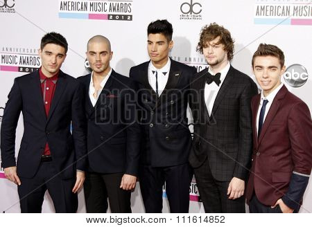 Tom Parker, Max George, Siva Kaneswaran, Jay McGuiness and Nathan Sykes of The Wanted at the 2012 American Music Awards held at the Nokia Theatre L.A. Live in Los Angeles, USA on November 18, 2012.