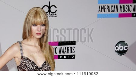 Taylor Swift at the 2010 American Music Awards held at Nokia Theatre L.A. Live in Los Angeles, USA on November 21, 2010.