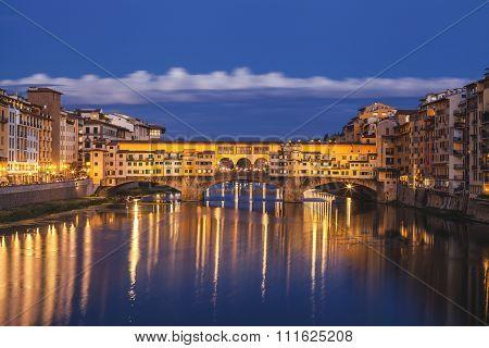 Florence City.view Of Ponte Vecchio Bridge In Italy