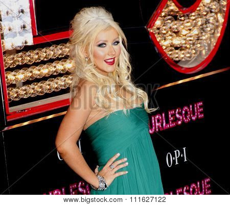 HOLLYWOOD, CALIFORNIA - November 15, 2010. Christina Aguilera at the Los Angeles premiere of
