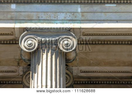Classical Greek Or Roman Ionic Column In British Museum. London. UK