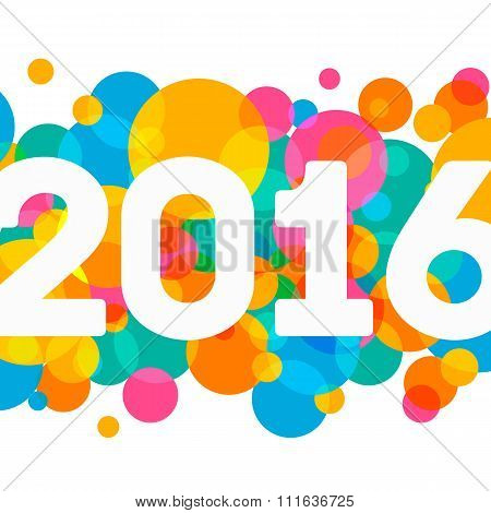 Happy New Year 2016 multicolor background for your greetings card