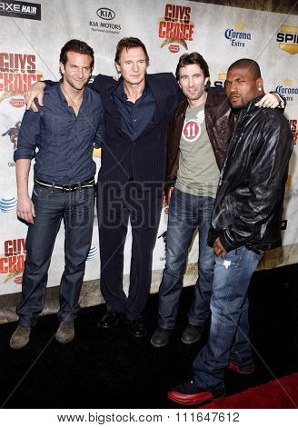 CULVER CITY, CALIFORNIA - June 5, 2010. Bradley Cooper, Liam Neeson, Sharlton Copley and Quinton Jackson at the 2010 Guys Choice Awards held at the Sony Pictures Studios, Culver City.