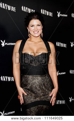 HOLLYWOOD, CALIFORNIA - January 5, 2012. Gina Carano at the Los Angeles premiere of