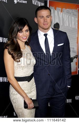 HOLLYWOOD, CALIFORNIA - January 5, 2012. Channing Tatum and Jenna Dewan at the Los Angeles premiere of