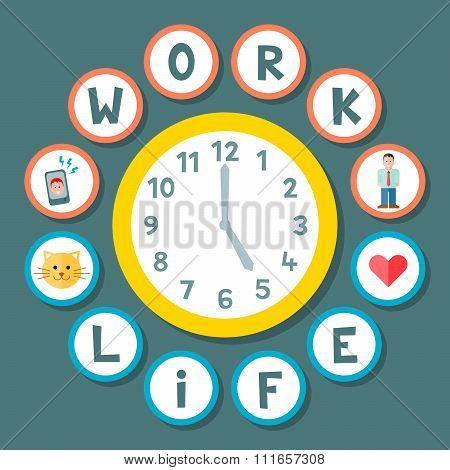 Work Life Balance Clock Concept