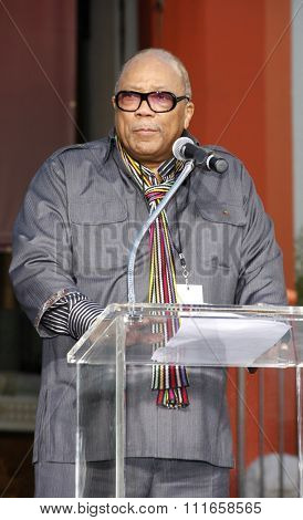 HOLLYWOOD, CALIFORNIA - January 26, 2012. Quincy Jones at the Michael Jackson Hand And Footprint Ceremony held at the Grauman's Chinese Theatre, Los Angeles.