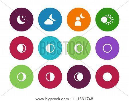 Moon phases circle icons on white background.