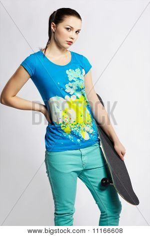 Girl With Skateboard