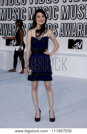 Miranda Cosgrove at the 2010 MTV Video Music Awards held at the Nokia Theatre L.A. Live in Los Angeles, USA on September 12, 2010.