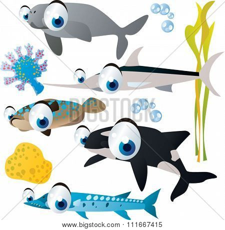 collection of sea animals. USeful for fish labels, apps or books illustration, isolated on white. Dugong, swordfish, flounder, orca, barracuda