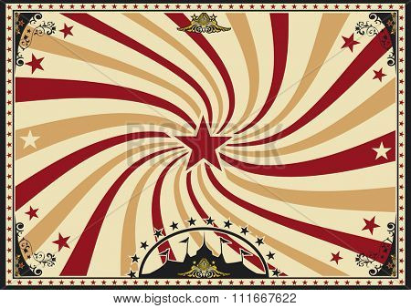 Horizontal poster vortex sunbeams circus. A circus vintage poster with a vortex for your advertising. Perfect size for a screen.