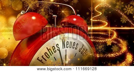 Frohes neues jahr in red alarm clock against christmas light design