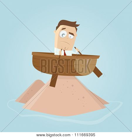 funny businessman is running aground