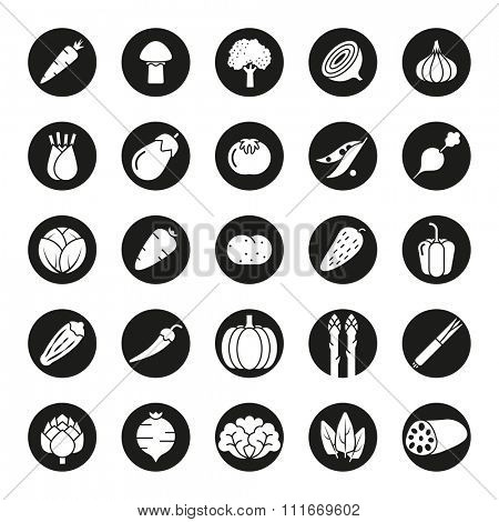 Collection of vegetable icons, negative in black circles