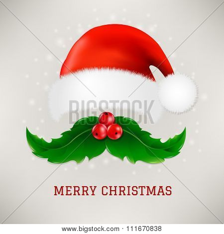 Christmas Card With Moustaches And Santa Claus Cap With Gradient Mesh, Vector illustration