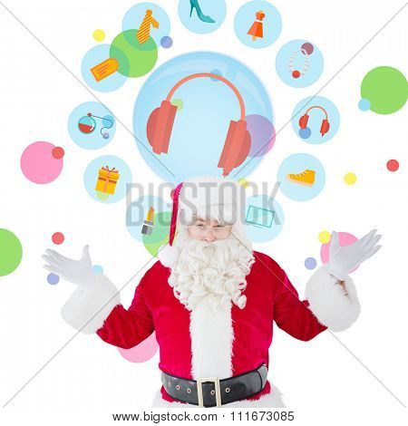 Portrait of perplexed santa against dot pattern