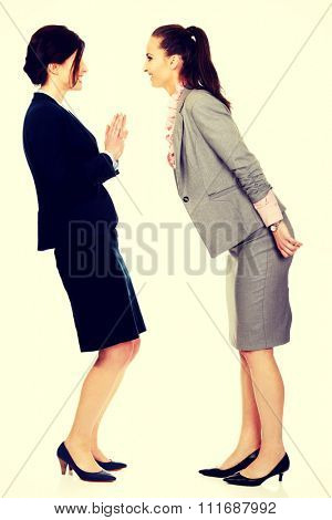 Two angry businesswomans arguing with eachother.