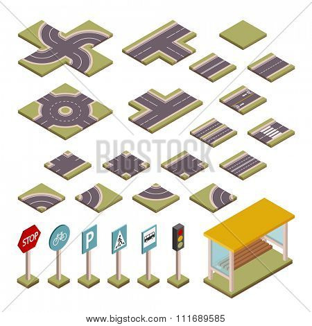 Road vector design elements. Road cross, road blocks, road elements isolated on white background. Vector road constructor. Road design elements illustration. Bus station, car signs design elements