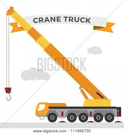 Building under construction crane machine technics vector illustration. Building crane machine  truck vector. Under construction vector concept. Crane machine vector isolated. Crane truck car vector