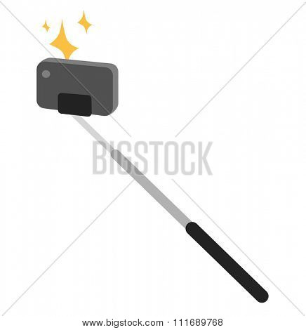 Selfie stick vector icon illustration. Selfie stick isolated on white background. Selfie stick photo camera isolated. Selfie stick tools for selfie photo camera. Selfie stick tools. Selfie vector