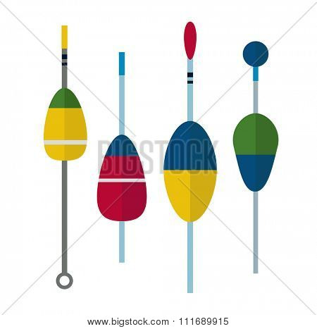 Fishing bobbers flat icons vector illustration. Fishing tools, fishing bobs, fishing icons. Fishing tools and fishing icons. Fishing symbols. Fishing design elements. Fishing hobby icons. Bobber icons