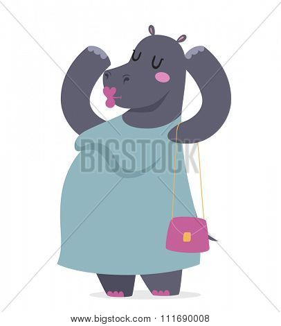 Hippo fat woman vector portrait illustration on white background. Cartoon hippo fat woman, hippo vector. Selfie shot hippo woman human body. Vector hippo animal isolated. Fat hippo like woman in dress
