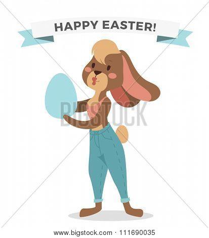 Greeting card Easter rabbit girl vector illustration. Funny bunny easter rabbit. Easter Bunny greeting card. Easter vector illustration.Easter bunny cartoon flat style. Easter flat bunny rabbit vector