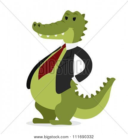 Crocodile business man vector portrait illustration on white background. Cartoon crocodile business man.Selfie shot crocodile businessman. Vector crocodile isolated.Crocodile business man