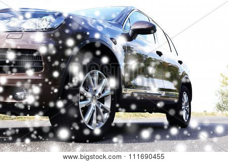 Car on road over snow effect