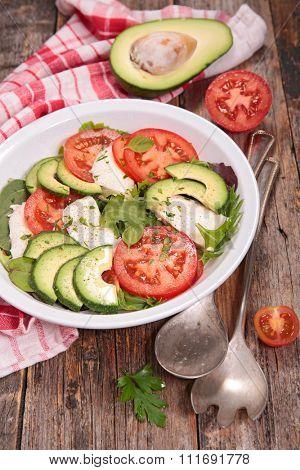 vegetarian salad with tomato,mozza and avocado