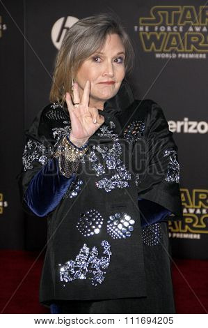 Carrie Fisher at the World premiere of 'Star Wars: The Force Awakens' held at the TCL Chinese Theatre in Hollywood, USA on December 14, 2015.