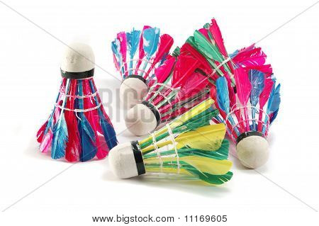 Several Feather Colourful Shuttelcocks On White Background, Isolated