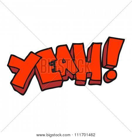yeah! freehand drawn cartoon shout