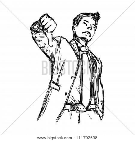 Illustration Vector Hand Drawn Doodle Businessman With Thumb Down.