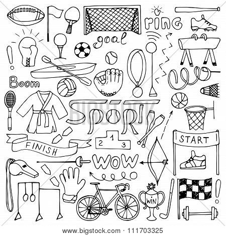 Hand drawn Sport equipment set