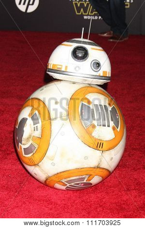 LOS ANGELES - DEC 14:  BB-8 at the Star Wars: The Force Awakens World Premiere at the Hollywood & Highland on December 14, 2015 in Los Angeles, CA