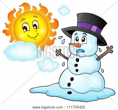 Melting snowman theme image 1 - eps10 vector illustration.