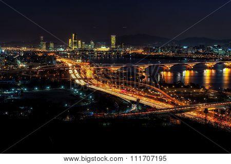 Night Traffic Over Han River In Seoul