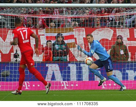 MUNICH, GERMANY - DECEMBER 12 2015: Manuel Neuer of Bayern Munich  during the Bundesliga match between Bayern Muenchen and FC Ingolstadt, on December 12, 2015 in Munich, Germany.