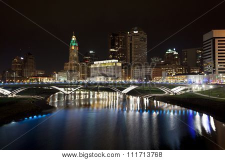 The skyline of the City of columbus, Ohio along the Scioto River after completion of the Scioto Greenway project.