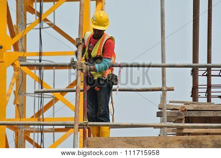 Construction workers working at high level